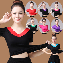 中老年ca场女V领上te莫代尔T恤跳舞衣服舞蹈短袖练功服