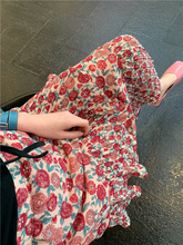 BORcaKOO韩国te夏正品 肉桂粉~碎花花色层层雪纺半身裙短裙