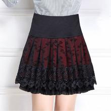 妈妈半ca裙秋冬短裙vi高腰显瘦打底裙女蕾丝百褶裙厚式摆裙子