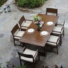 卡洛克ca式富临轩铸an色柚木户外桌椅别墅花园酒店进口防水布