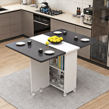 简易圆ca折叠餐桌(小)hn用可移动带轮长方形简约多功能吃饭桌子