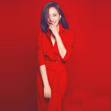 欧洲站ca021春秋hn秀新式高端女装优雅时尚气质红色长连体裤潮