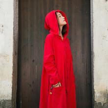 原创棉ca女装女巫盘hn袍子宽大带帽长袖加长式斗篷风衣开衫春