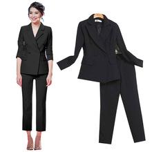 纯黑白ca时尚职业套hn两件套韩国修身显瘦双排扣(小)西装外套潮