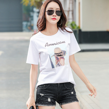 202ca年新式夏季pe袖t恤女半袖洋气时尚宽松纯棉体��设计感�B