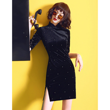 黑色金ca绒旗袍20pe新式夏年轻式少女改良连衣裙(小)个子显瘦短式