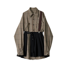 Descagner pes 春季套装女2021新式时尚背带衬衫百褶裙洋气两件套