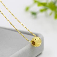 彩金女ca品925纯tl8k黄金细锁骨链子转运珠吊坠不掉色