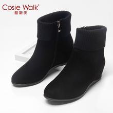秋冬短靴ca1增高坡跟ks短筒踝靴磨砂皮马丁靴大码百搭靴子女