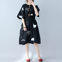 大码女装夏季文艺松ca6腰(小)鱼印hi腰显瘦遮肉短袖棉麻连衣裙