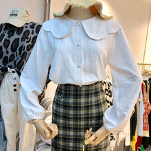 纯色减龄翻领甜ca4娃娃领单hi衬衣女韩范宽松学院风上衣衬衫