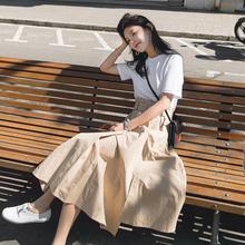 夏长裙ca淡风裙子女an0春式中长式连衣裙两件套套装学生韩款森系