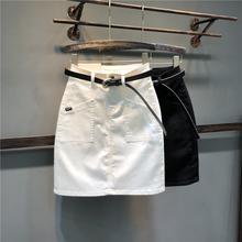 欧洲站cb0021夏co瘦弹力牛仔半身裙A型修身包臀裙中裙一步裙