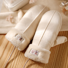 手套女cb天加绒可爱wo通麂皮绒保暖加厚连指挂脖手套学生质感