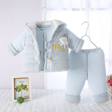 婴儿秋冬季加厚棉衣三件套
