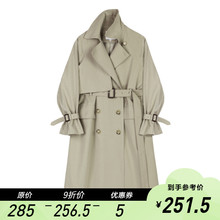 【9折ccVEGA leNG女中长式收腰显瘦双排扣垂感气质外套春