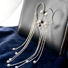 精灵耳cc纯手工制作le珠长式流苏银链条耳挂耳环耳夹银饰首饰