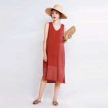 LAMMA法式亚cc5拼色针织ra衣裙中长式无袖v领A透气度假