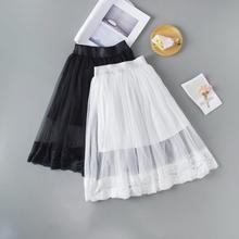 女童半身裙cc2蕾丝网纱ra款中大童黑色百褶裙短裙宝宝蓬蓬裙