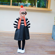 IFKcdDS童装儿hr宝宝黑色皮质超好可以穿三季的背带裙黑色皮裙