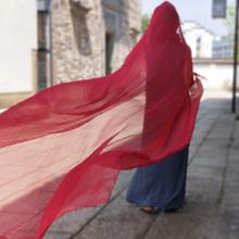 红色围cd3米大丝巾lc气时尚纱巾女长式超大沙漠披肩沙滩防晒