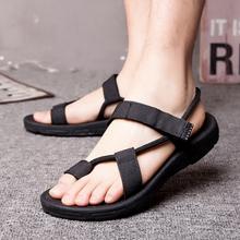 进口越cd凉鞋潮 韩qf学生舒适休闲黑色百搭男女士沙滩鞋布带