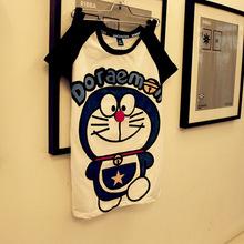 夏装清cd 香港潮牌qh猫印花卡通纯棉可爱短袖T恤 男女装韩款