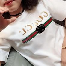 2021新式夏装短袖女白色t恤韩cd13修身大pt印花圆领半袖潮