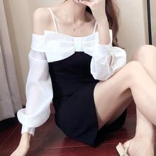 一字肩cd带连衣裙长yl2021年新式女韩款心机露肩性感蝴蝶结裙
