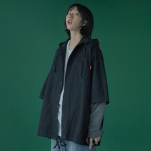 衬衣女ce019新式ji秋女外穿假两件长袖黑色宽松bf复古港味衬衫