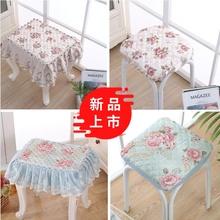 长方形ce子椅垫梳妆eb板凳套罩钢琴凳垫欧式花边蕾丝防滑
