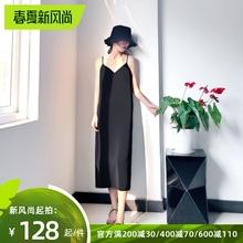 [cenpang]黑色吊带连衣裙女夏季性感