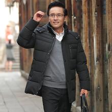 40多几岁中年男的冬天穿的ce10长式外te爸爸装加厚羽绒棉衣60