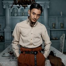 SOAceIN英伦风te式衬衫男 Vintage古着西装绅士高级感条纹衬衣