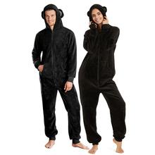 冬季情ce可爱卡通猴la服加厚保暖女冬连体睡衣珊瑚绒男连体衣