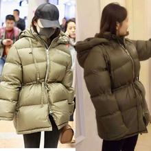 2020秋冬明星霍ce6燕同式女ea暖中长式宽松收腰系带加厚外套