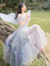 法式吊ce白色连衣裙ll美裙子仙女超仙森系网纱彩虹公主裙长式