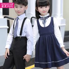 宝宝演ce服(小)学生表ll舞蹈裙女童大合唱团服男童背带裤春装