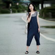 谷家 ce麻风格减龄ll麻女装连体裤 休闲文艺复古显瘦背带裤