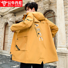 BULce DANNsp牛丹尼男士风衣中长式韩款潮秋冬季帅气外套英伦风