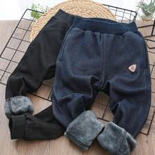 男童牛仔加绒运动裤20ce80冬式儿sp中大童长裤男孩裤子裤装