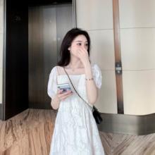 豆丁BceAN DIba心蕾丝短式泡泡袖白色初恋连衣裙宽松显瘦仙女裙