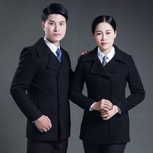 呢子外套女2020新式黑色双排ce12夹棉加hu银行职业装大衣冬
