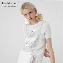 Leeceonsanhu19年夏新吊带宽松内搭v领性感上衣1329001