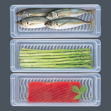 透明长cf形保鲜盒装cq封罐冰箱食品收纳盒沥水冷冻冷藏保鲜盒