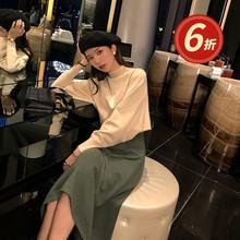 刘妤淇cf020秋冬rl厚保暖羊毛针织法式(小)众气质连衣裙中长式