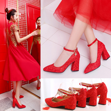红鞋婚cf女红色高跟wa婚鞋子粗跟婚纱照婚礼新娘鞋敬酒秀禾鞋