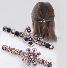 韩国东cg门弹簧夹镶vn夹子弹簧横夹高雅气质女士发卡子头饰品