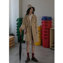 卡农自cg 时尚风衣pv2021春装新式(小)个子双排扣长袖短式外套