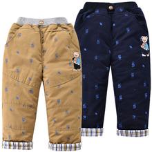 中(小)童ch装新式长裤am熊男童夹棉加厚棉裤童装裤子宝宝休闲裤